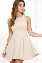 LuLu*s Gal About Town Beige Skater Dress