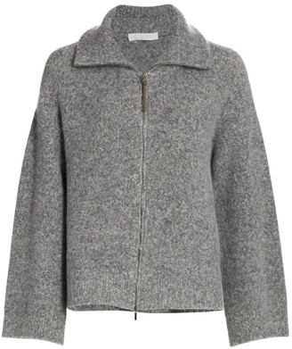 Fabiana Filippi Boucle Knit Stand-Collar Zip-Front Cardigan