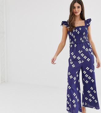 Asos Tall ASOS DESIGN Tall shirred frill sleeve jumpsuit in polka dot