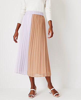 Ann Taylor Colorblock Pleated Midi Skirt