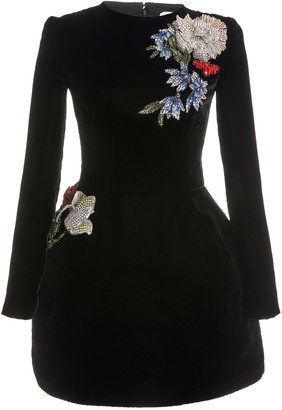Oscar de la Renta Embellished Velvet Mini Dress