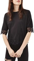 Topshop Women's Lace Trim Tee