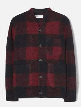 Universal Works Red Fleece Wool Check Cardigan - red | Fleece Wool | medium - Red/Red