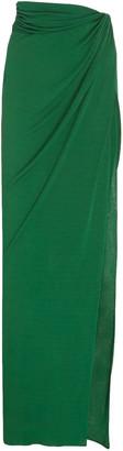 Brandon Maxwell Side-Slit Draped Jersey Maxi Skirt