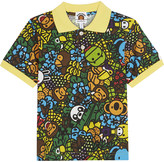 A Bathing Ape Island print cotton polo shirt 4-8 years