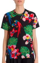Valentino Tropical Dream Short-Sleeve Silk Blouse
