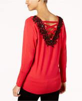Thalia Sodi Laced-Back Sweater, Created for Macy's