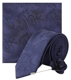 Dorothy Perkins Womens **Burton Navy Wedding Paisley Design Tie And Matching Pocket Square With A Flower Pin, Navy