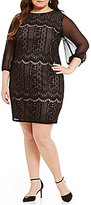 Adrianna Papell Plus Lace-Embroidered Shift Dress