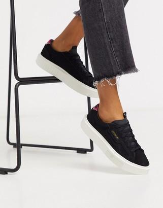 adidas Super Sleek sneakers in black suede