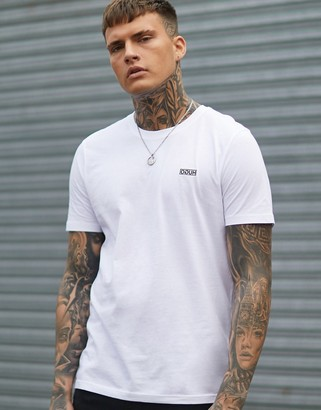 HUGO Dero contrast embroidered logo t-shirt in white