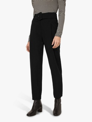 Warehouse Buckle Belt Front Pleated Peg Trousers, Black