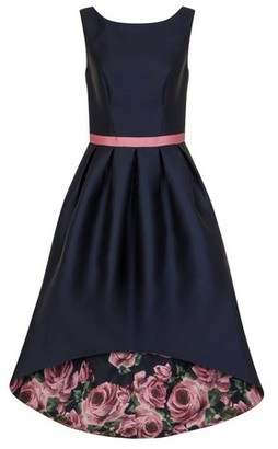 Dorothy Perkins Womens Chi Chi London Navy Floral Print Dip Hem Fit And Flare Dress, Navy