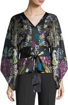 Josie Natori Kimono-Sleeve Abstract Dragon-Print Silk Blouse