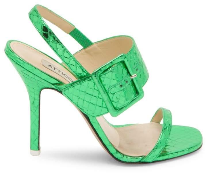 ATTICO Mariah Metallic-Leather Slingback Sandals