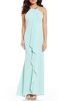 Calvin Klein Beaded-Neck Draped Ruffle Front Gown