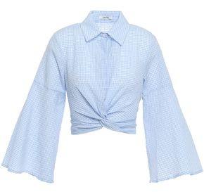 Ganni Cropped Twist-front Gingham Cotton-blend Seersucker Shirt