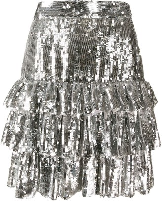 MSGM Tiered Sequinned Mini Skirt