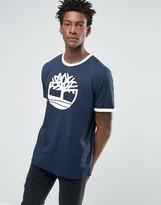 Timberland Logo Ringer T-Shirt In Navy