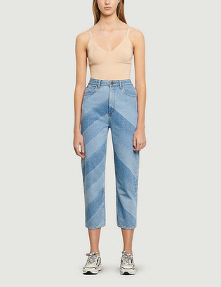 Sandro Diego striped cropped high-rise straight jeans