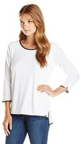 Calvin Klein Women's 3Q Sleeve Top with Piping