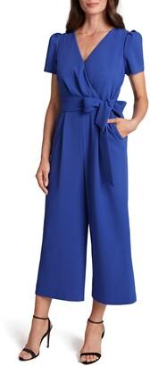 Tahari Short Sleeve Crop Jumpsuit