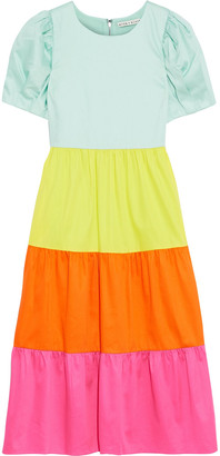 Alice + Olivia Linnie Color-block Cotton-blend Poplin Dress