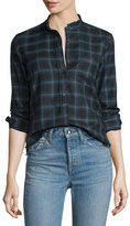 Helmut Lang Shrunken Plaid Pullover Shirt, Navy