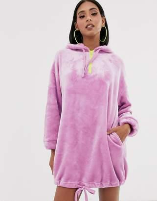 Asos Design DESIGN velour hoodie dress-Purple