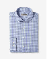 Express fitted micro check print cotton dress shirt