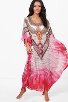 boohoo Kayla Embellished Digital Maxi Kaftan pink