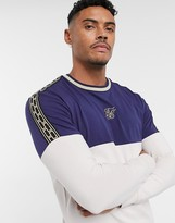 SikSilk long sleeve panelled t-shirt with gold taping