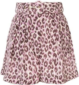 Zimmermann Super Eight silk leopard print shorts