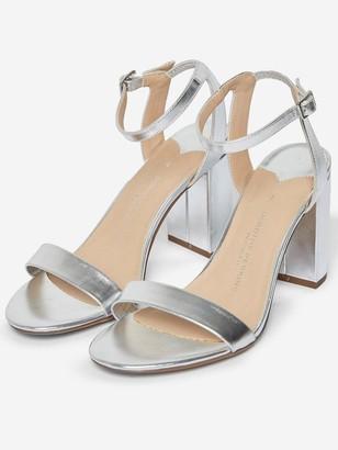 Dorothy Perkins Wide Fit Shimmer Block Heeled Sandal - Silver