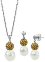 Honora Style Cultured Freshwater Pearl and Crystal Jewelry Set in Sterling Silver