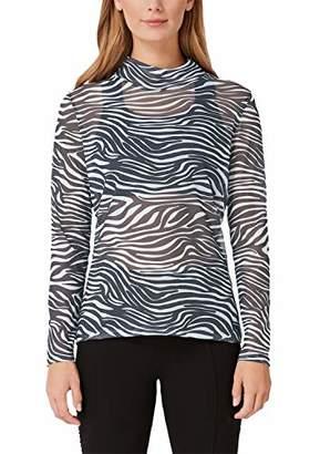 S'Oliver Women's 21.909.31.7013 T-Shirt, (Black AOP Quadrat 99A0), 16 (Size: )
