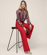 Reiss Carla - Wool-blend Wide-leg Trousers in Red, Womens