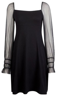 Dorothy Perkins Womens Black Mesh Sleeve Fit And Flare Dress, Black