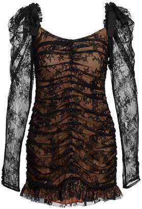 For Love & Lemons Beverly Sheer-Sleeve Lace Mini Dress