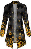 Lily Women's Open Cardigans YLW - Yellow & Black Sunflower Pointed-Hem Open Cardigan - Women & Plus