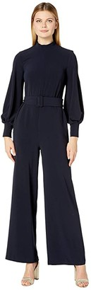 Donna Morgan Lightweight Cupro High Neck and Self Tie Jumpsuit (Marine Navy) Women's Jumpsuit & Rompers One Piece