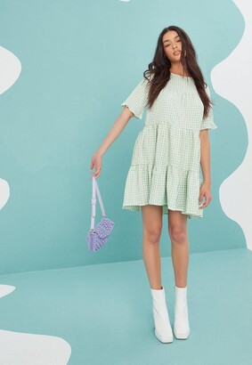 Missguided Mint Gingham Tiered Frill Smock Dress
