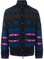 Sacai layered pixel jacquard bomber - men - Cotton/Cupro/Wool - 1