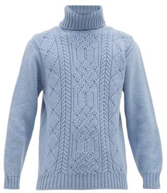 Inis Meáin Aran Patterned Merino Wool Roll Neck Sweater - Mens - Light Blue
