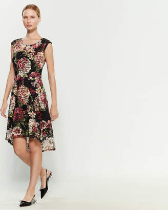 Connected Apparel Cap Sleeve Floral Lace Hi-Low Dress