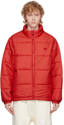 adidas Red Padded Stand Collar Puffer Jacket