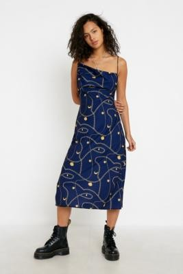 Finders Keepers Finder Keepers Navy Chain Slip Midi Dress - Blue UK 10 at Urban Outfitters