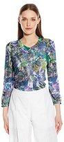 NYDJ Women's Abstract 3/4 Sleeve Henley Pleat Back Blouse