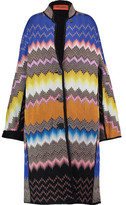Missoni Shearling-Trimmed Crochet-Knit Coat