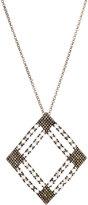 Bavna Moonstone & Pave Open-Diamond Pendant Necklace